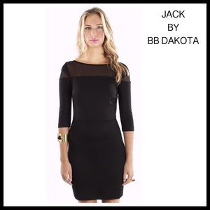 JACK BY BB DAKOTA BLACK SHEER 3/4 SLEEVE DRESS